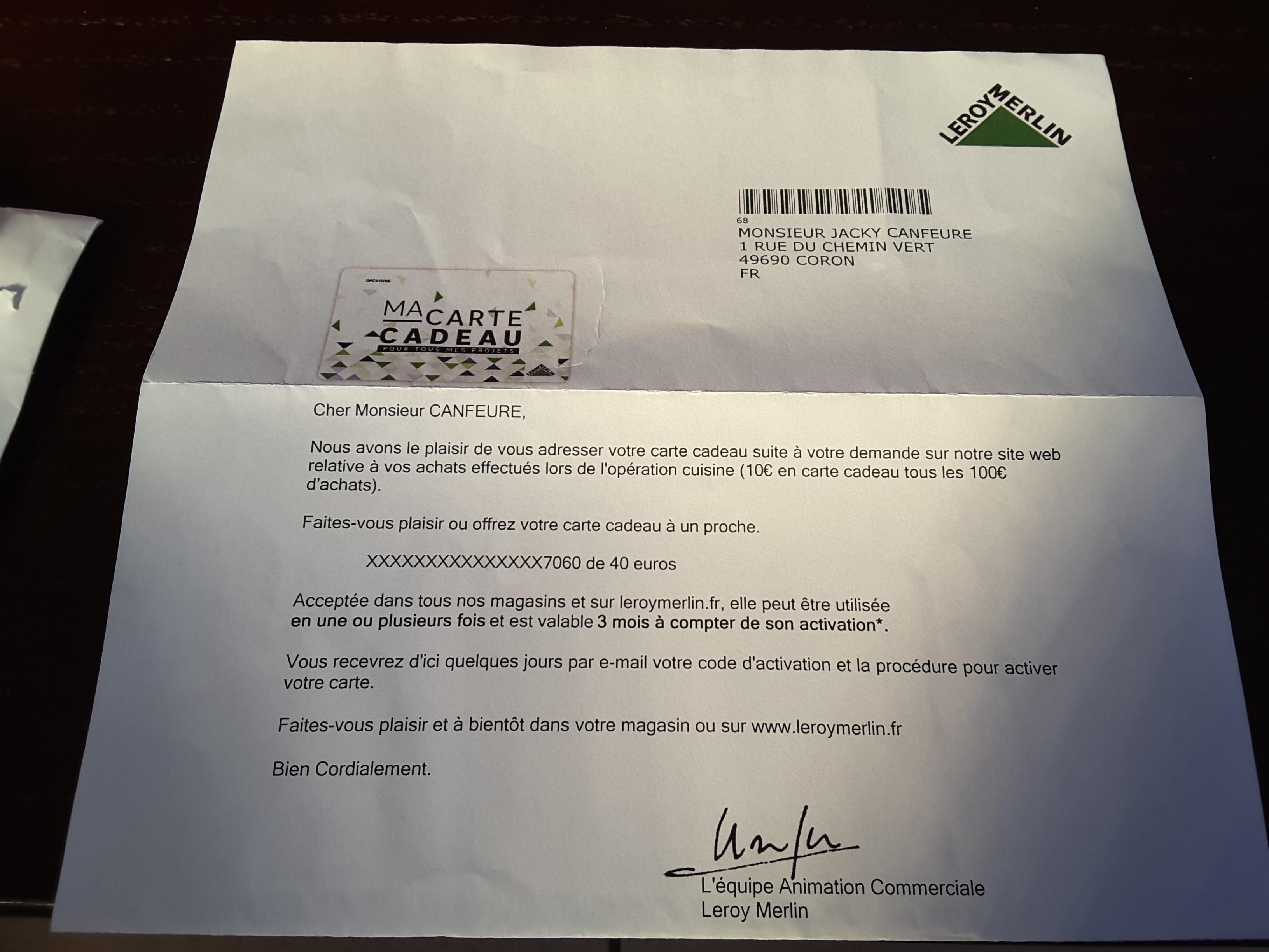 activation carte cadeau leroy merlin Code activation carte cadeau non reçu   Communauté Leroy Merlin